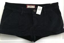 NWT Abercrombie & Fitch Velvet Cuffed Shorts Navy Blue 4 Small $68 Originally