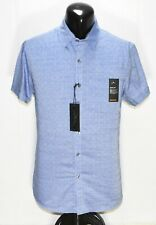 Mens Marc Anthony Slim Fit Short Sleeve Shirt Blue Dobby Button Front New Small