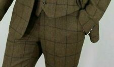 MENS TWEED BROWN TAILORED FIT TROUSERS - CLEARANCE SALE - GRAB A BARGAIN!