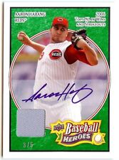 2008 UD Heroes 49  Aaron Harang autograph jersey 3/5 green Reds auto