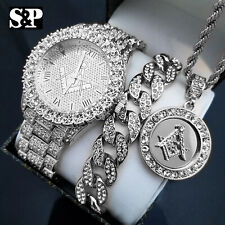 MENS ICED HIP HOP SILVER PT MASONIC FREEMASON WATCH & NECKLACE & BRACELET SET