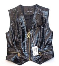 RARE! NOUCHKA Women's Genuine ITALIAN LEATHER Vest Size 42 Made in Italy $ 395