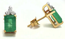 NATURAL 1.20 carats EMERALDS & DIAMONDS 14k Yellow Gold Earrings *FREE SHIPPING*