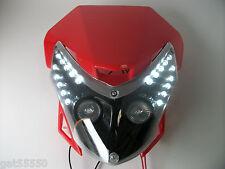 Red Motorcycle Streetfighter Enduro Headlight Alien Led Custom Cbf Zxr Honda Xr