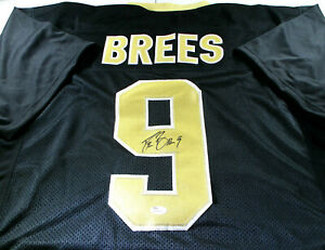 DREW BREES / AUTOGRAPHED NEW ORLEANS SAINTS BLACK CUSTOM FOOTBALL JERSEY / JSA