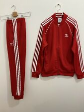 Adidas Originals Superstar Tracksuit Red White, Jacket Size L Pants Size M