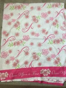 Disney twin flat sheet fabric Once Upon A Time pink floral