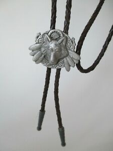 Vintage 1995 Fine Pewter Western Fox Brown Leather Cord Bolo Neck Tie