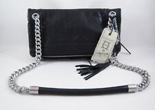 Olivia Harris Zip Pocket Foldover Shoulder Bag Black