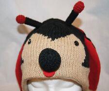 deLux LADYBUG HAT knit animal ski cap costume lady bug ADULT ladies FLEECE LINED