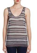rag & bone metallic striped gansevoort knit tank top shirt in gunmetal M NWT