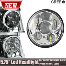 1x Chrome 5.75 5 3/4 Motorcycle Projector LED Light Bulb Headlight fits Harley