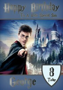 Personalised Birthday card Harry Potter any name/relation/age