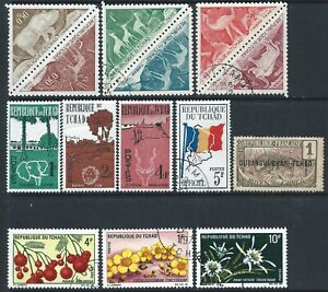 Chad Small Collection of 11 HM & Used stamps including postage dues