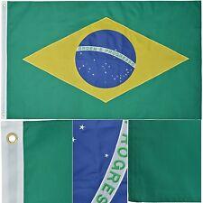 3x5 Ft BRAZIL Flag Deluxe Embroidered Nylon Brazilian Country Flag