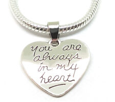 Mothers Sterling Silver Charm Pendant For Bracelet Necklace ALWAYS IN MY HEART