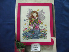 JOAN ELLIOTT' BEAUTIFUL SPRINGTIME FAIRY GATHERING FLOWERS CROSS STITCH CHART