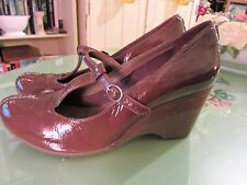 Ladies Clarks Brown Patent T-Bar Wedge Shoes Size 5.5 BNWOT