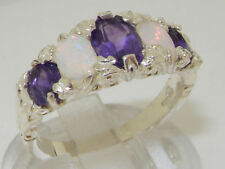 Band Natural Amethyst Sterling Silver Fine Rings