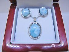 Larimar 10X14mm 100% Natural Blue Vintage .925 Sterling Silver Stud Earrings Set