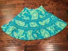 Odille Anthropologie Teal Floral Print A-Line Skirt, Size 2