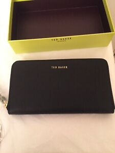 Ted Baker Black Leather Crosshatch Zip Around Matinee Purse In Gift Box New tags