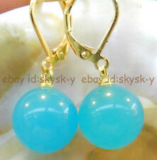 12mm Blue Brazil Aquamarine Gems Round Beads Earring ( Gold color Knife clasp )