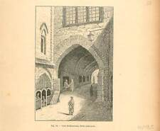Voie douloureuse et porte judiciaire de Jérusalem Palestine GRAVURE PRINT 1894