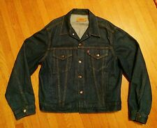 VINTAGE 1980's LEVI TYPE 3 70506 0216 RIGID UNWASHED DENIM JACKET 48 XL III