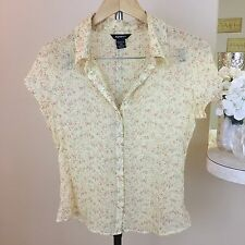 Anxiety Women's FLORAL SHEER Ivory Buttoned Cap Sleeve Blouse Size XLarge