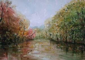 Autumn river. ORIGINAL WATERCOLOUR PAINTING. Landscape. Waterscape.