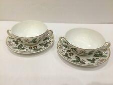 Pair (2) Wedgwood STRAWBERRY HILL Cream Soup Bowl & Saucer Bone China England