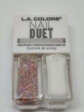 L.A. LA Colors Nail Duet Polish & Glitter Love & Hate Multi Color & White Nail