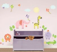 SUNNY DAY SAFARI WALL DECALS Animals Elephant Giraffe Lion Room Decor Stickers