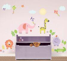 SUNNY DAY SAFARI WALL DECALS Animals Elephant Giraffe Lion Room Decor Stickers