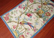 Beautiful Pheasant On Tree Handmade Wool Needlepoint Home Decor Carpet