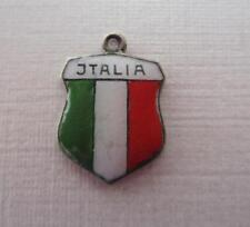Vintage Silver & Enamel ITALY Travel Shield Charm