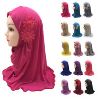 One Piece Muslim Kids Girls Amira Scarf Hijab Flower Headscarf Wrap Islamic Arab