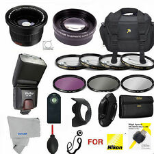 Nikon D3100 / D5000 52mm PRO Kit - CASE, REMOTE  FLASH FILTERS  ZOOM  WIDE ANGLE