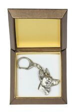 Pharaoh Hound - silver plated keyring with image of a dog, in box, Art Dog Usa