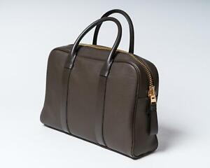 Tom Ford $3,290 NWT Slate Gray Grained Leather Gold Hardware Buckley Briefcase