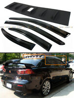 FOR 08-16 MITSUBISHI LANCER SHARK FIN VORTEX GENERATOR SPOILER+ JDM WINDOW VISOR