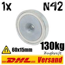 1x Neodym Topfmagnet D60x15mm 130kg N42 mit Senkung Werkstatt halten befestigen