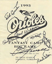 Chuck Thompson + 6 Hand Signed Baltimore Orioles Fantasy Camp Program - 1993
