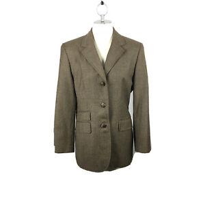 VTG LRL Wool Suit Women 10P Brown Worsted Wool Equestrian Blazer Suit 2 pc