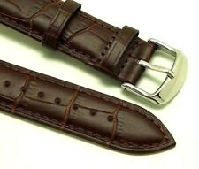 20mm Brown Quality Leather Brown Stitched Watch Band Alligator Grain Fits All 20