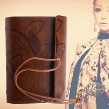 Retro Leather Vintage String Leaf Blank Diary Notebook Journal Sketchbook BRN UP