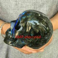 Natural Labradorite quartz Skull hand Carved Crystal reiki healing 1PC