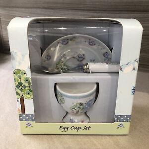 Little Bird & Ellie Blue Egg Cup & Spoon Set Christening Gift by Karen Sanders.