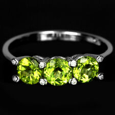 NATURAL AAA GREEN PERIDOT ROUND & WHITE CZ STERLING 925 SILVER RING SIZE 9